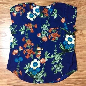 Lily White Blue Floral Short Sleeve Blouse XL